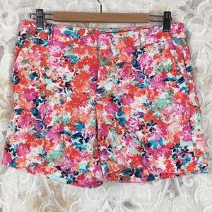 J.Crew sz 2 pink orange blue floral chino shorts